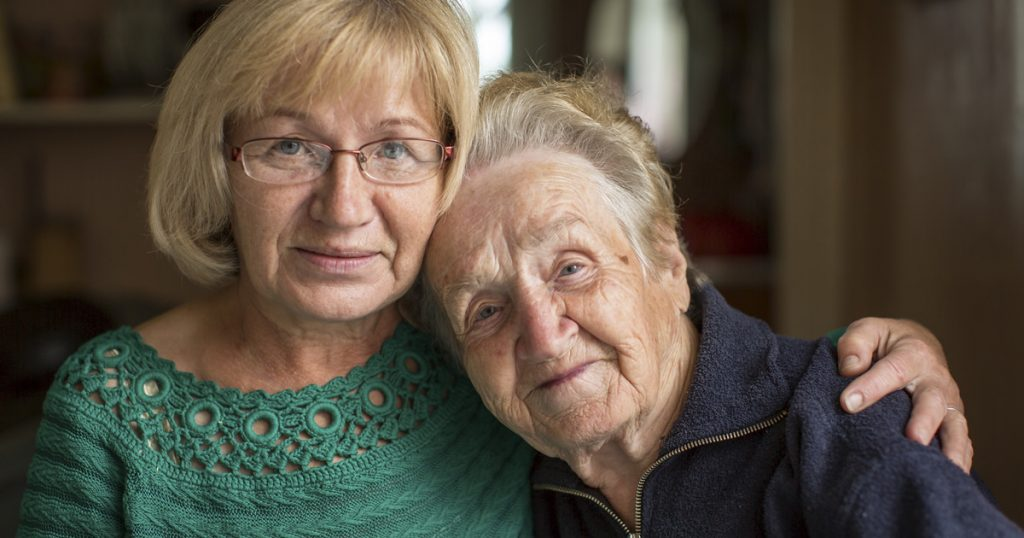 Woman and her mother considering elder care