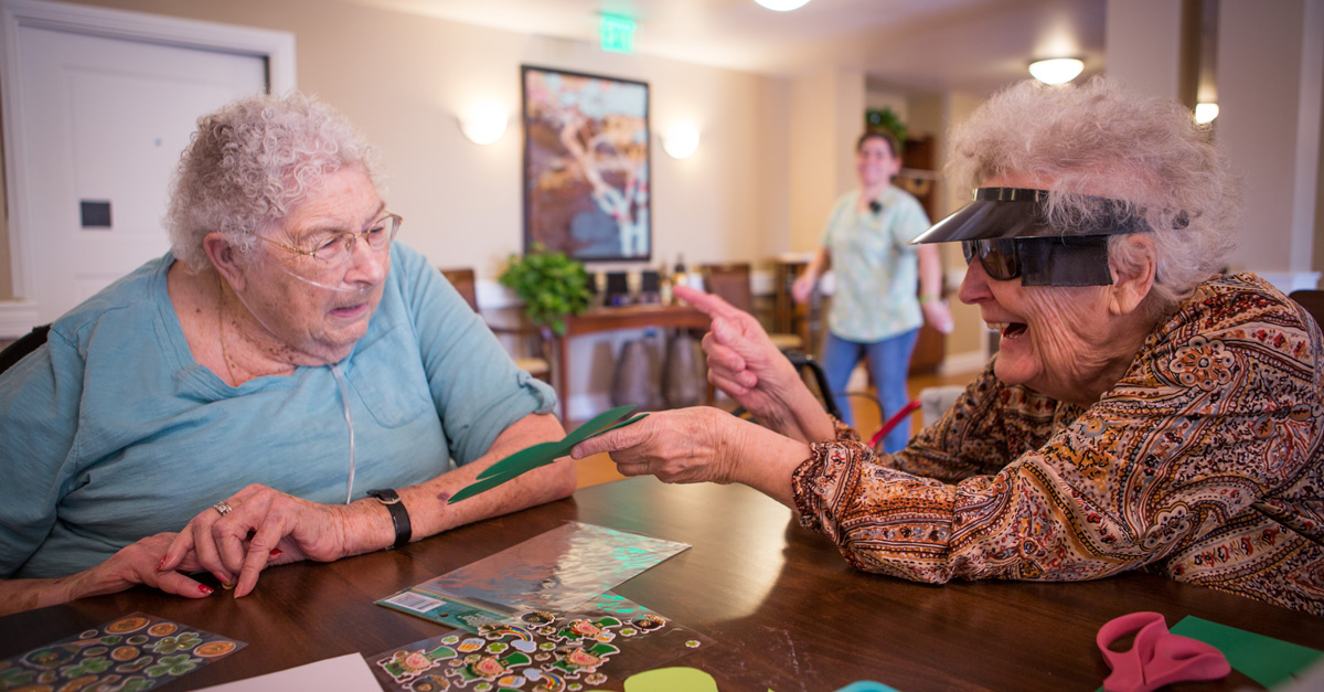 Elder care residents making some crafts